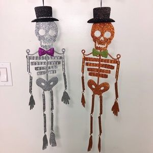 Metal Halloween Hanging Skeleton Decor 2 For 1